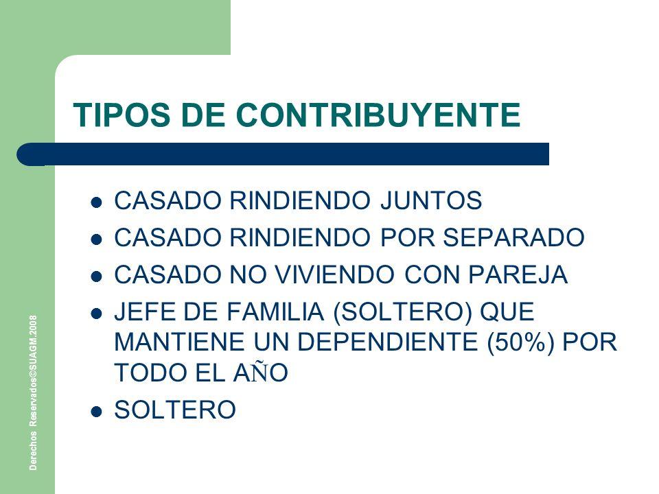 Derechos Reservados©SUAGM.2008 TIPOS DE CONTRIBUYENTE CASADO RINDIENDO JUNTOS CASADO RINDIENDO POR SEPARADO CASADO NO VIVIENDO CON PAREJA JEFE DE FAMILIA (SOLTERO) QUE MANTIENE UN DEPENDIENTE (50%) POR TODO EL A Ñ O SOLTERO
