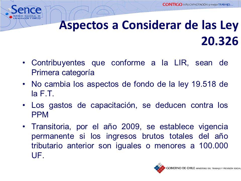 Aspectos a Considerar de las Ley 20.326 Contribuyentes que conforme a la LIR, sean de Primera categoría No cambia los aspectos de fondo de la ley 19.5