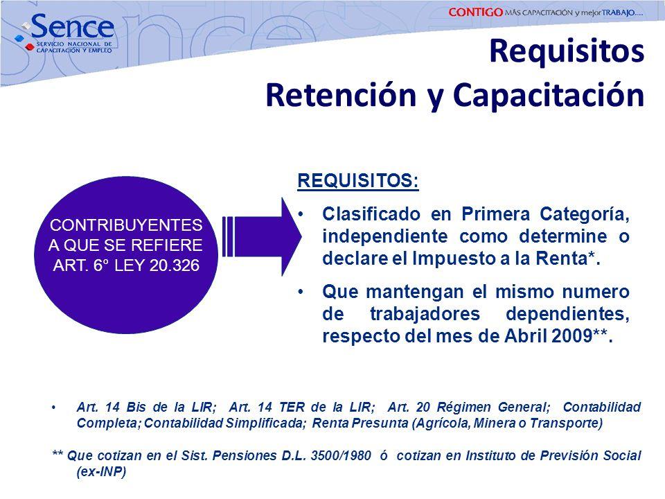Requisitos Retención y Capacitación CONTRIBUYENTES A QUE SE REFIERE ART. 6° LEY 20.326 REQUISITOS: Clasificado en Primera Categoría, independiente com
