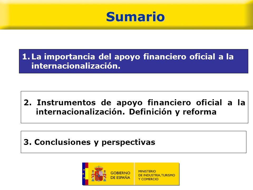 Importancia del apoyo financiero oficial Importancia de la internacionalización como estrategia de largo plazo para consolidar posiciones competitivas Importancia apoyo a financiero oficial a operaciones de internacionalización.