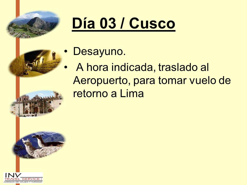 Día 03 / Cusco Desayuno. A hora indicada, traslado al Aeropuerto, para tomar vuelo de retorno a Lima
