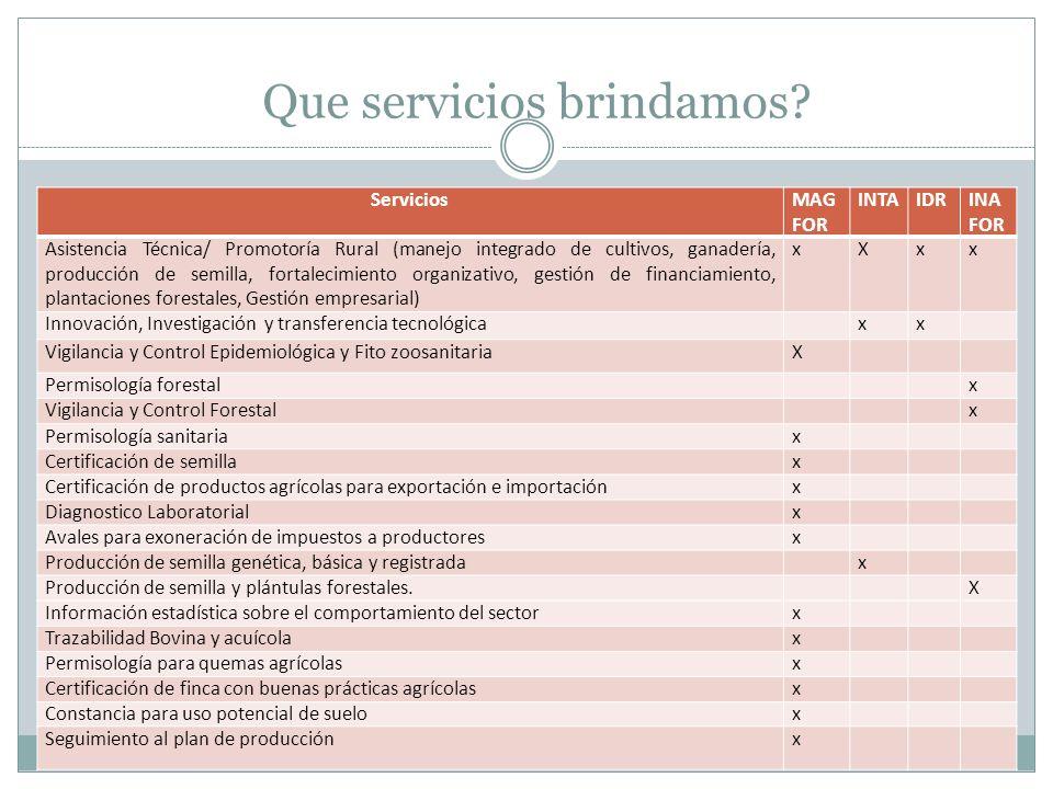 Que servicios brindamos? ServiciosMAG FOR INTAIDRINA FOR Asistencia Técnica/ Promotoría Rural (manejo integrado de cultivos, ganadería, producción de