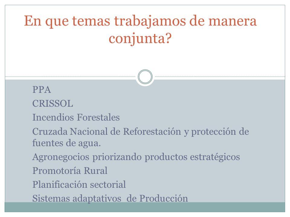PPA CRISSOL Incendios Forestales Cruzada Nacional de Reforestación y protección de fuentes de agua. Agronegocios priorizando productos estratégicos Pr