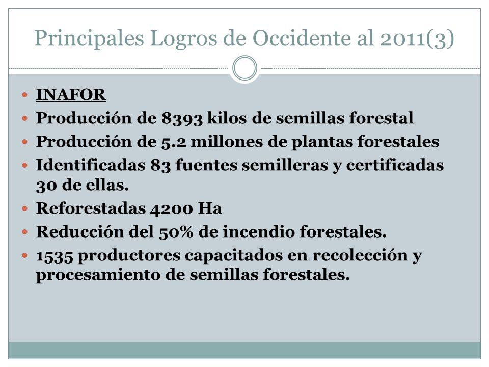 Principales Logros de Occidente al 2011(3) INAFOR Producción de 8393 kilos de semillas forestal Producción de 5.2 millones de plantas forestales Identificadas 83 fuentes semilleras y certificadas 30 de ellas.