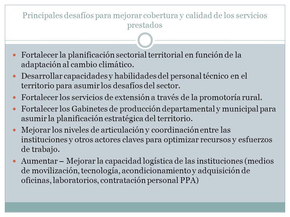 Principales desafíos para mejorar cobertura y calidad de los servicios prestados Fortalecer la planificación sectorial territorial en función de la ad