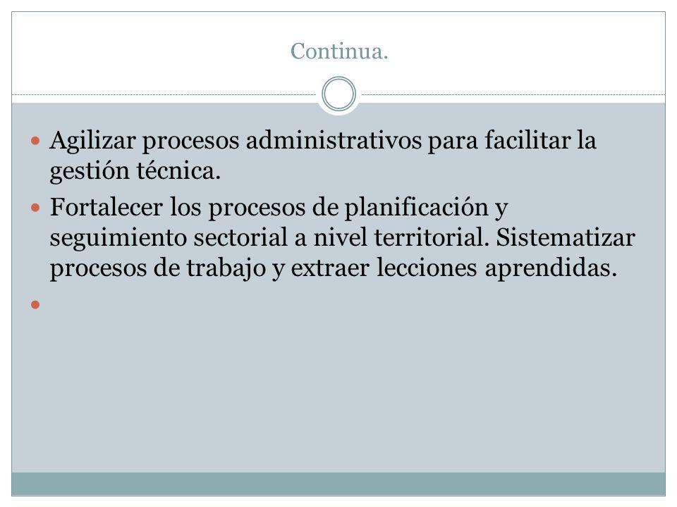 Continua. Agilizar procesos administrativos para facilitar la gestión técnica. Fortalecer los procesos de planificación y seguimiento sectorial a nive