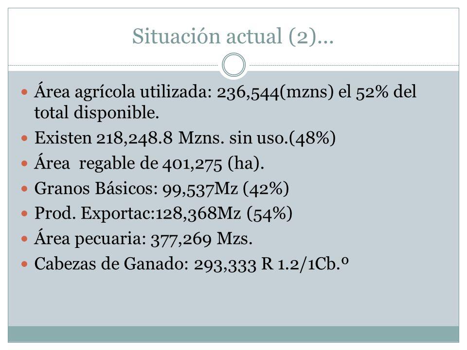 Situación actual (2)... Área agrícola utilizada: 236,544(mzns) el 52% del total disponible. Existen 218,248.8 Mzns. sin uso.(48%) Área regable de 401,