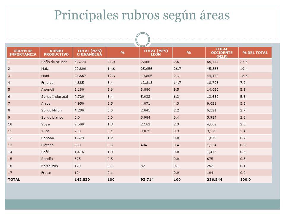 Principales rubros según áreas ORDEN DE IMPORTANCIA RUBRO PRODUCTIVO TOTAL (MZS) CHINANDEGA % TOTAL (MZS) LEON % TOTAL OCCIDENTE (MZS) % DEL TOTAL 1Ca