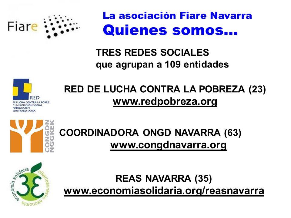 La asociación Fiare Navarra Quienes somos... TRES REDES SOCIALES que agrupan a 109 entidades RED DE LUCHA CONTRA LA POBREZA (23) www.redpobreza.org CO