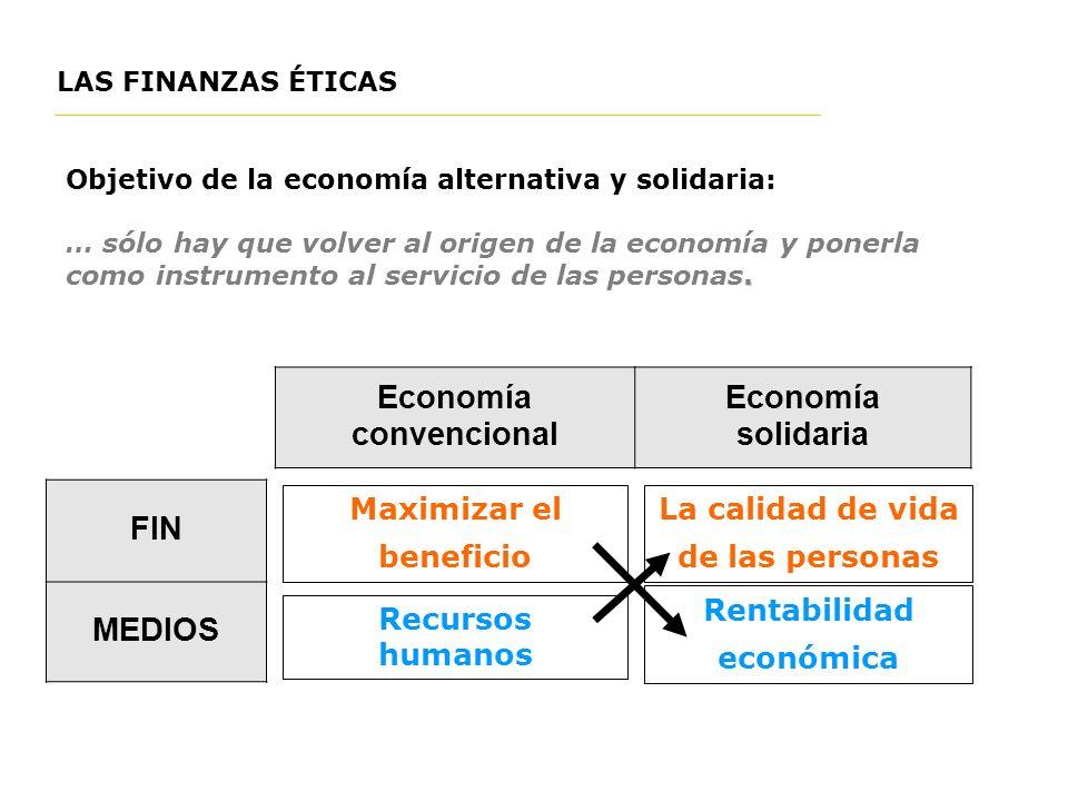LAS FINANZAS ÉTICAS Objetivo de la economía alternativa y solidaria:. … sólo hay que volver al origen de la economía y ponerla como instrumento al ser