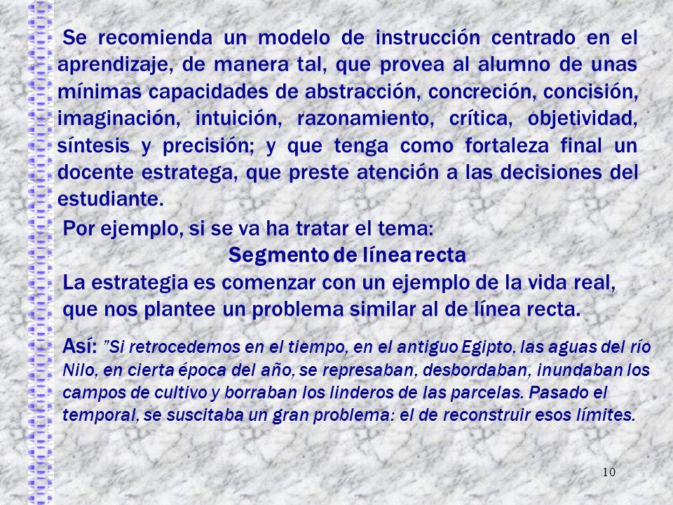 10 Se recomienda un modelo de instrucción centrado en el aprendizaje, de manera tal, que provea al alumno de unas mínimas capacidades de abstracción,