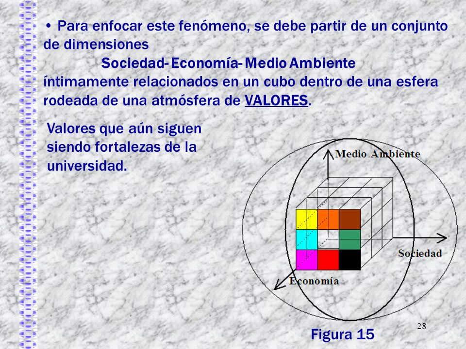 28 Para enfocar este fenómeno, se debe partir de un conjunto de dimensiones Sociedad- Economía- Medio Ambiente íntimamente relacionados en un cubo den