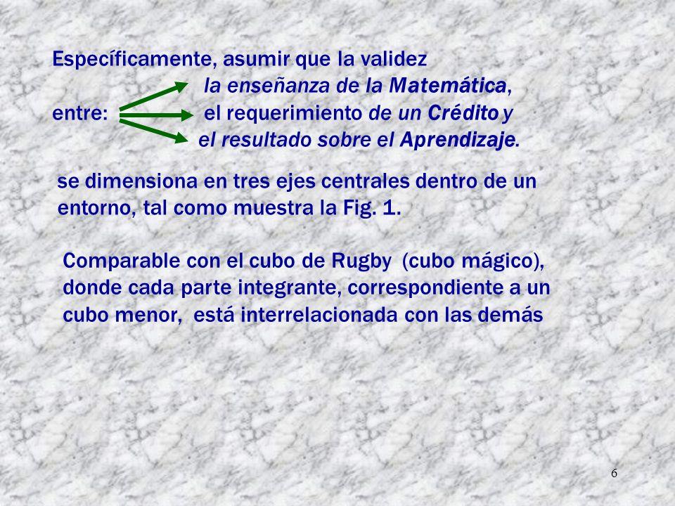 6 Específicamente, asumir que la validez la enseñanza de la Matemática, entre: el requerimiento de un Crédito y el resultado sobre el Aprendizaje.