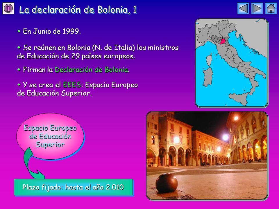 La declaración de Bolonia, 1 En Junio de 1999. En Junio de 1999.