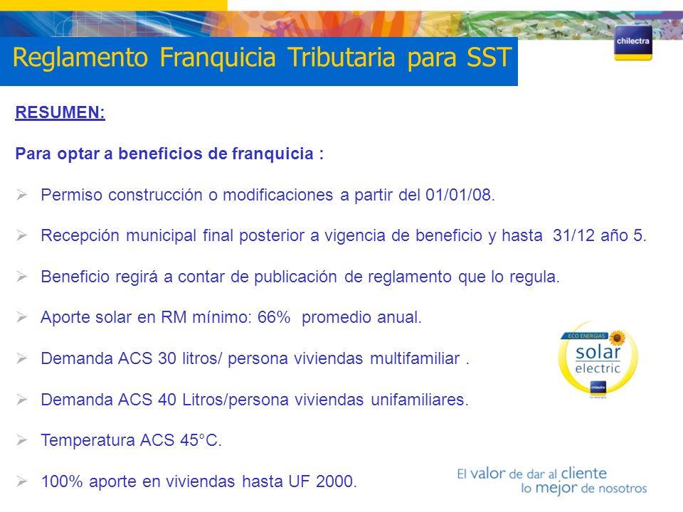 RESUMEN: Para optar a beneficios de franquicia : Permiso construcción o modificaciones a partir del 01/01/08. Recepción municipal final posterior a vi