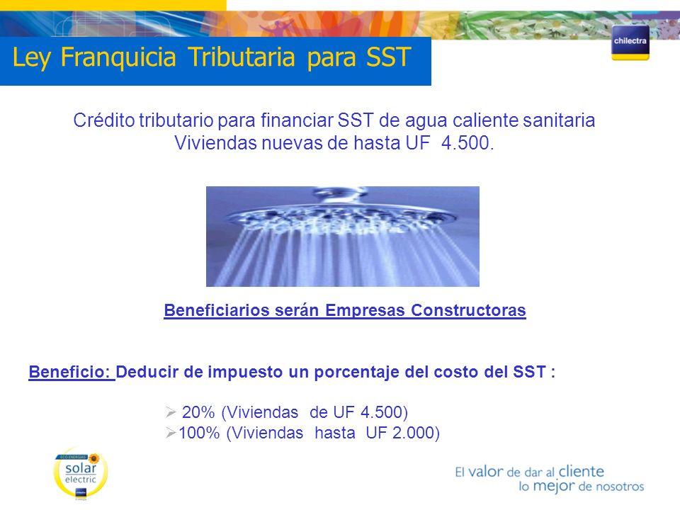 Crédito tributario para financiar SST de agua caliente sanitaria Viviendas nuevas de hasta UF 4.500. Beneficiarios serán Empresas Constructoras Benefi