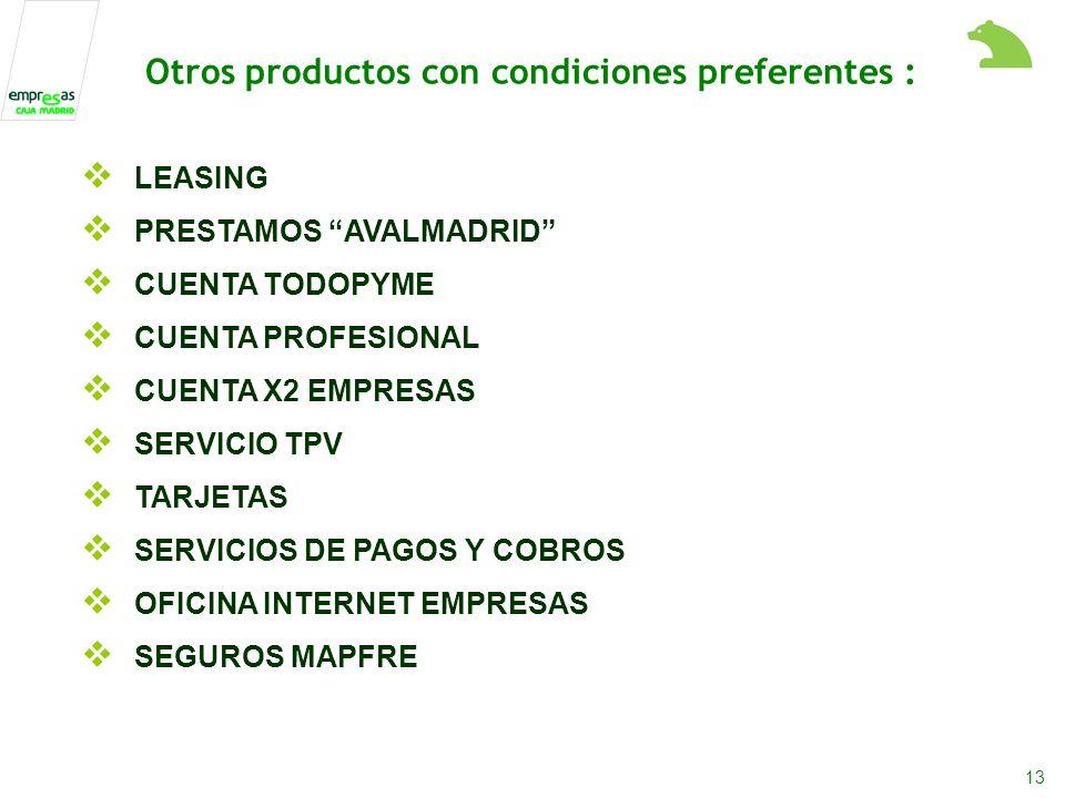 13 LEASING PRESTAMOS AVALMADRID CUENTA TODOPYME CUENTA PROFESIONAL CUENTA X2 EMPRESAS SERVICIO TPV TARJETAS SERVICIOS DE PAGOS Y COBROS OFICINA INTERNET EMPRESAS SEGUROS MAPFRE Otros productos con condiciones preferentes :
