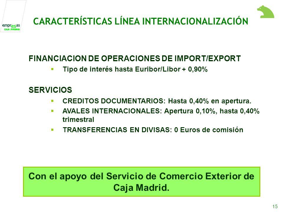 15 FINANCIACION DE OPERACIONES DE IMPORT/EXPORT Tipo de interés hasta Euribor/Libor + 0,90% SERVICIOS CREDITOS DOCUMENTARIOS: Hasta 0,40% en apertura.