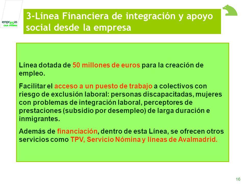 16 Línea dotada de 50 millones de euros para la creación de empleo.