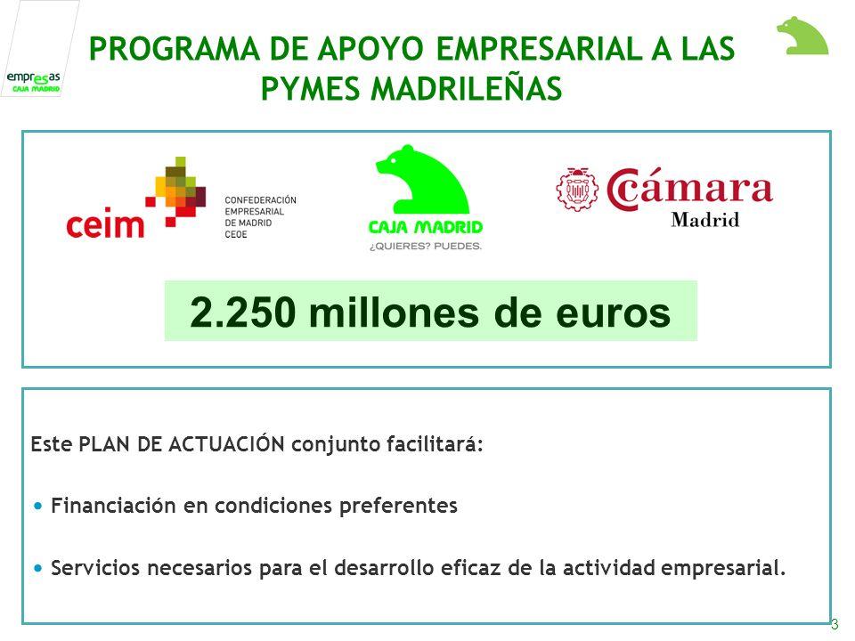 3 PROGRAMA DE APOYO EMPRESARIAL A LAS PYMES MADRILEÑAS 2.250 millones de euros Este PLAN DE ACTUACIÓN conjunto facilitará: Financiación en condiciones preferentes Servicios necesarios para el desarrollo eficaz de la actividad empresarial.