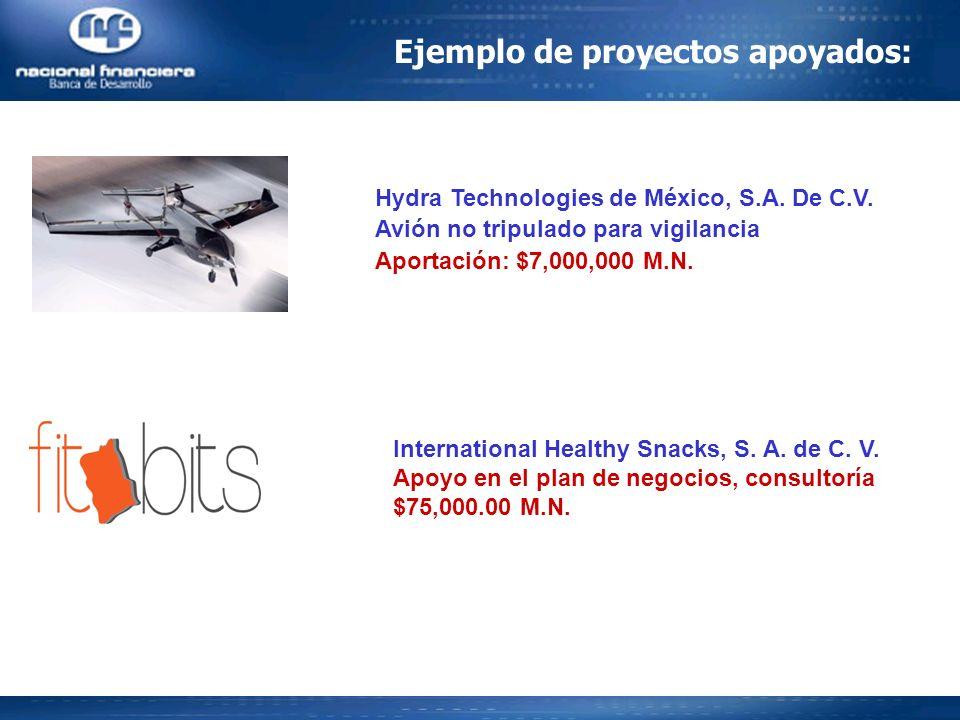 Ejemplo de proyectos apoyados: Hydra Technologies de México, S.A. De C.V. Avión no tripulado para vigilancia Aportación: $7,000,000 M.N. International