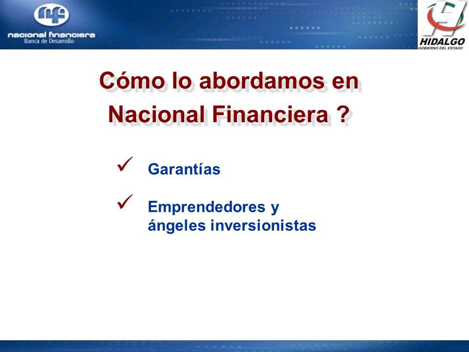 Cómo lo abordamos en Nacional Financiera ? Cómo lo abordamos en Nacional Financiera ? Garantías Emprendedores y ángeles inversionistas