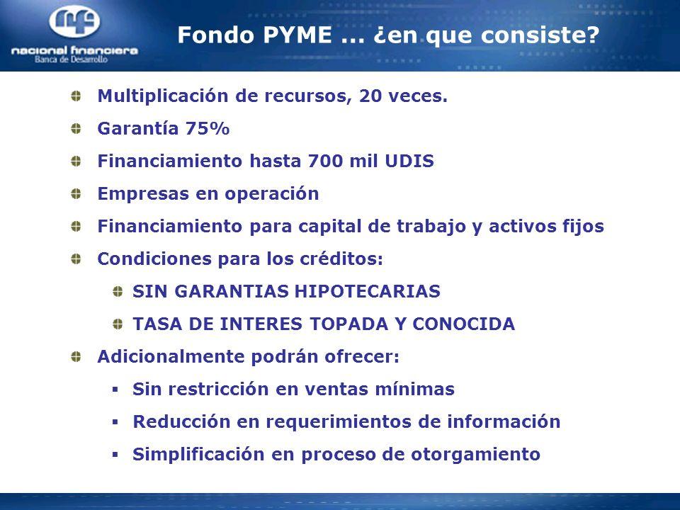 Fondo PYME... ¿en que consiste? Multiplicación de recursos, 20 veces. Garantía 75% Financiamiento hasta 700 mil UDIS Empresas en operación Financiamie