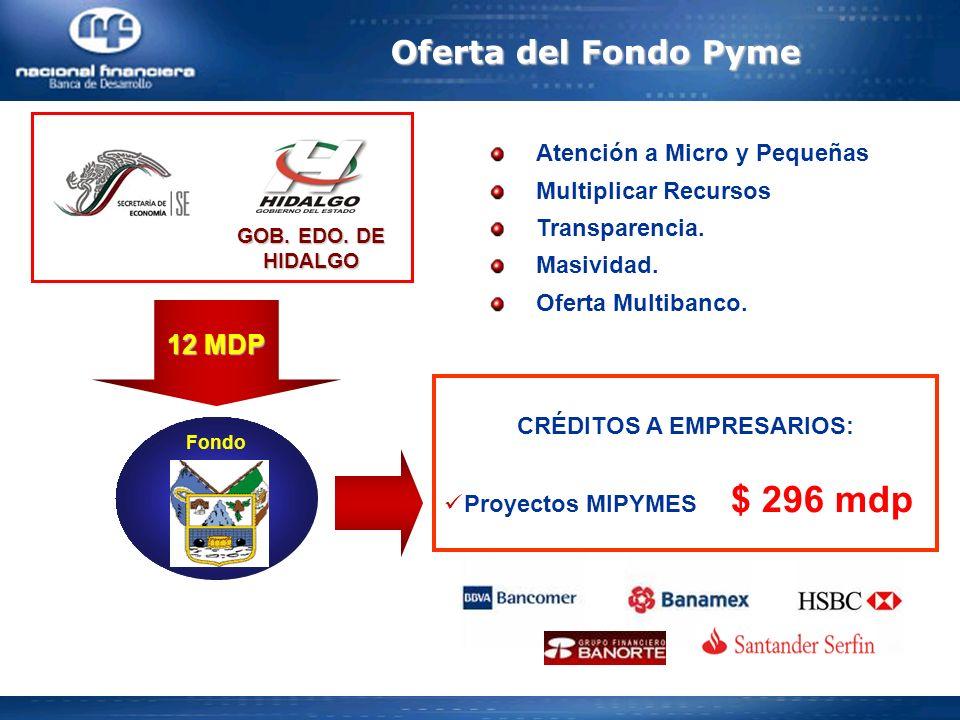 Atención a Micro y Pequeñas Multiplicar Recursos Transparencia. Masividad. Oferta Multibanco. Oferta del Fondo Pyme GOB. EDO. DE HIDALGO 12 MDP Fondo