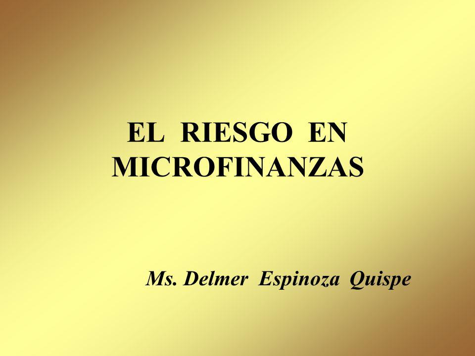 EL RIESGO EN MICROFINANZAS Ms. Delmer Espinoza Quispe