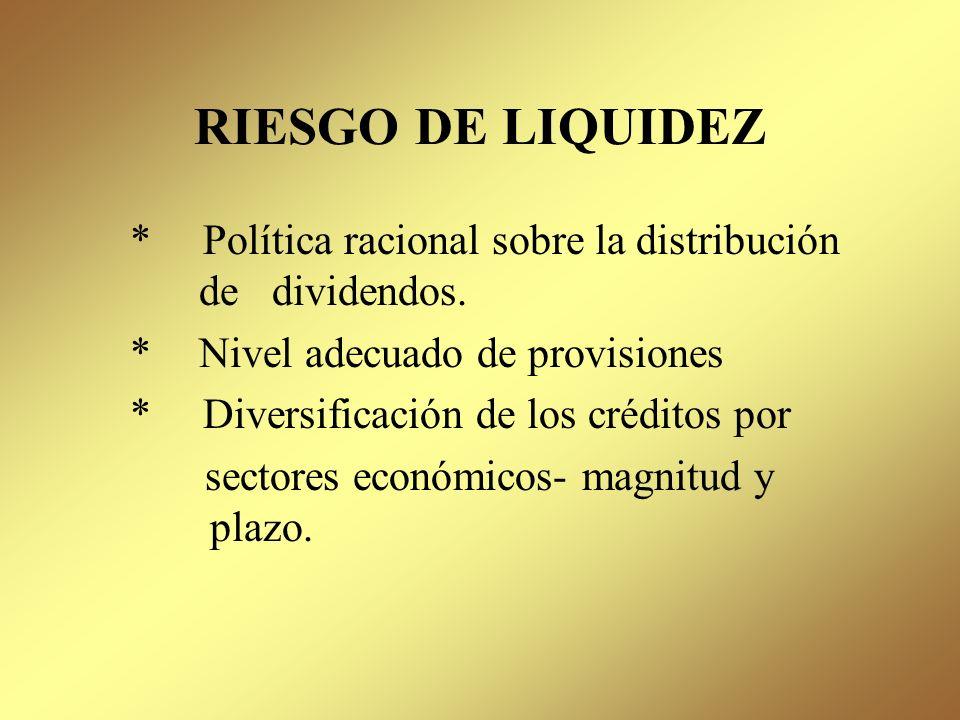 RIESGO DE LIQUIDEZ Representa la posibilidad que tiene la institución para cumplir con las obligaciones a su vencimiento, para lo cual debe existir un