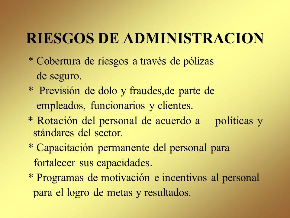 RIESGOS DE ADMINISTRACION Incluye todos los riesgos derivados de los hechos operativos, tanto internos como externos ( fallas administrativas, laboral