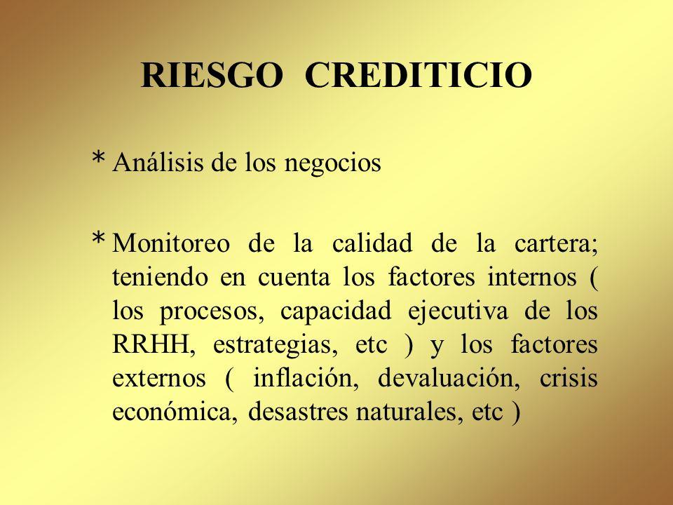 RIESGO CREDITICIO Representa la posibilidad de que los créditos otorgados no sean cancelados en las condiciones pactadas, en términos de tiempo y form