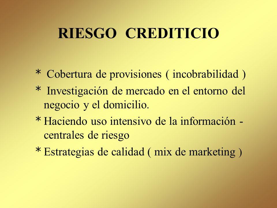 RIESGO CREDITICIO * Análisis de los negocios * Monitoreo de la calidad de la cartera; teniendo en cuenta los factores internos ( los procesos, capacid