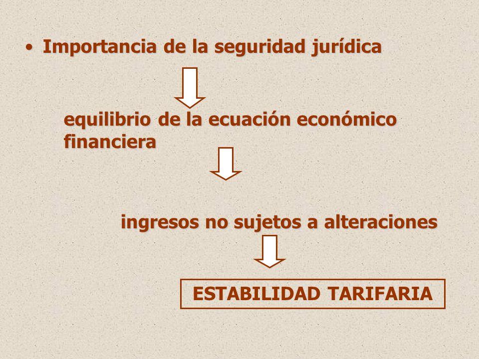 Importancia de la seguridad jurídicaImportancia de la seguridad jurídica equilibrio de la ecuación económico financiera ingresos no sujetos a alteraciones ESTABILIDAD TARIFARIA