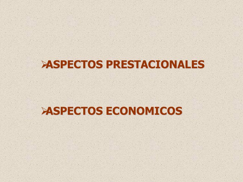 ASPECTOS PRESTACIONALES ASPECTOS PRESTACIONALES ASPECTOS ECONOMICOS ASPECTOS ECONOMICOS