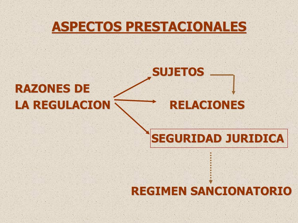 ASPECTOS PRESTACIONALES SUJETOS SUJETOS RAZONES DE LA REGULACION RELACIONES SEGURIDAD JURIDICA SEGURIDAD JURIDICA REGIMEN SANCIONATORIO REGIMEN SANCIONATORIO