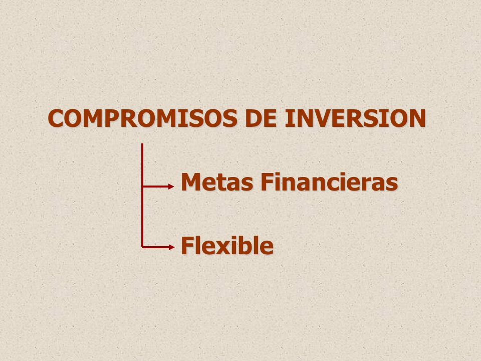 COMPROMISOS DE INVERSION Metas Financieras Metas Financieras Flexible Flexible