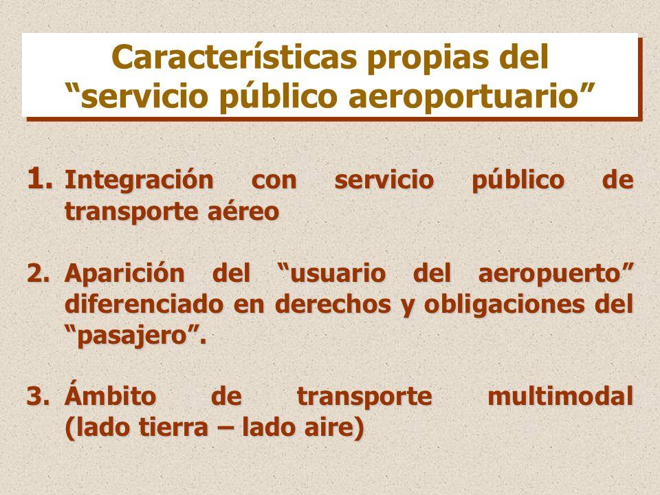 1. Integración con servicio público de transporte aéreo 2.Aparición del usuario del aeropuerto diferenciado en derechos y obligaciones del pasajero. 3