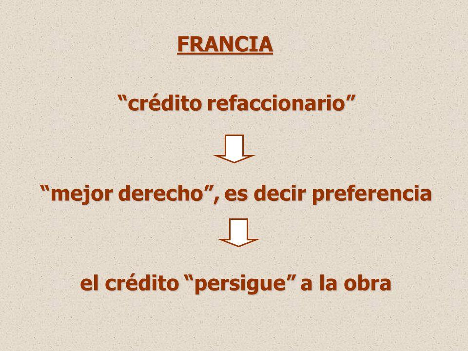 crédito refaccionario mejor derecho, es decir preferencia el crédito persigue a la obra FRANCIA