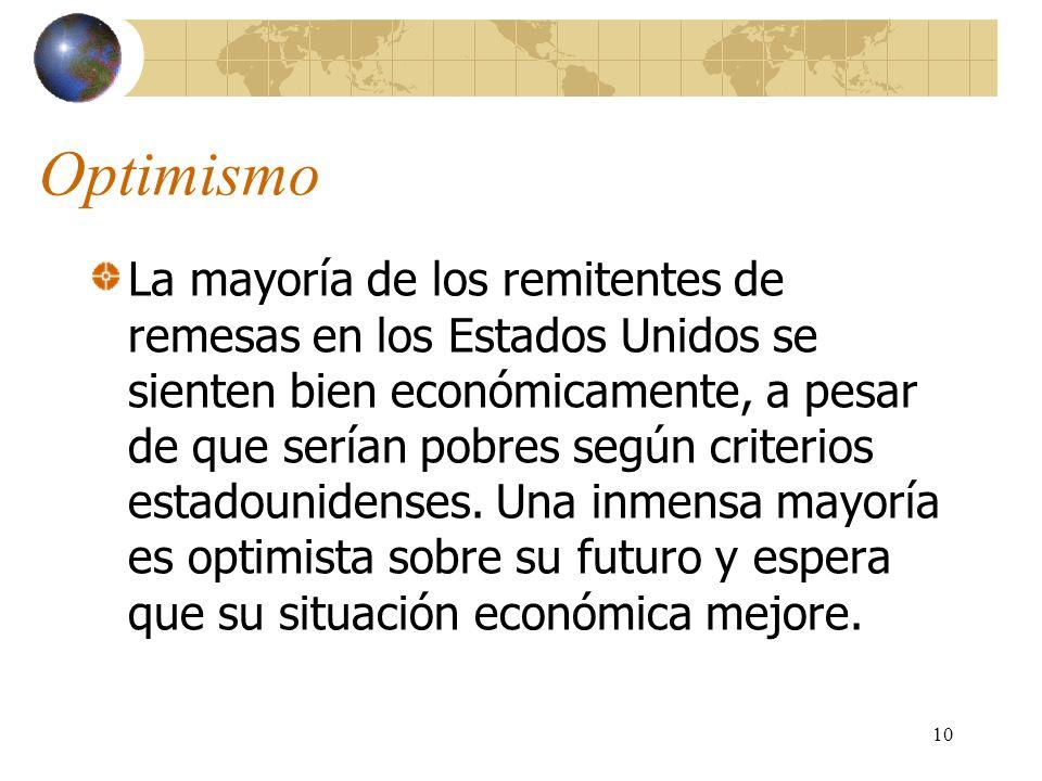 10 Optimismo La mayoría de los remitentes de remesas en los Estados Unidos se sienten bien económicamente, a pesar de que serían pobres según criterios estadounidenses.