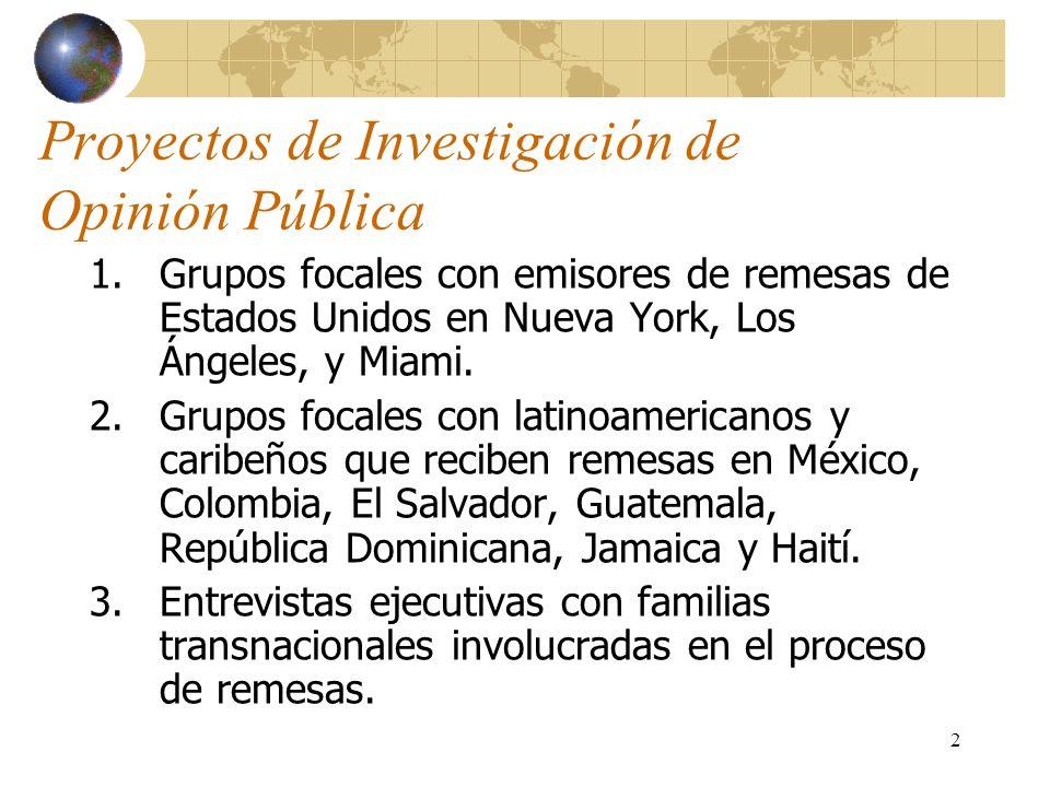 2 Proyectos de Investigación de Opinión Pública 1.Grupos focales con emisores de remesas de Estados Unidos en Nueva York, Los Ángeles, y Miami. 2.Grup