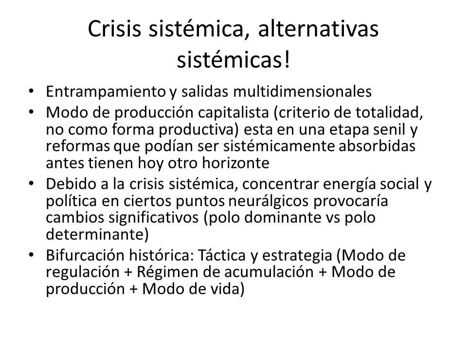 Crisis sistémica, alternativas sistémicas! Entrampamiento y salidas multidimensionales Modo de producción capitalista (criterio de totalidad, no como