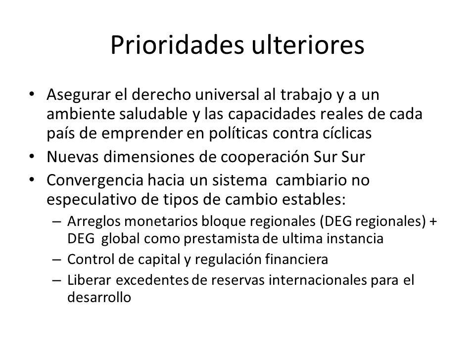 Prioridades ulteriores Asegurar el derecho universal al trabajo y a un ambiente saludable y las capacidades reales de cada país de emprender en políti