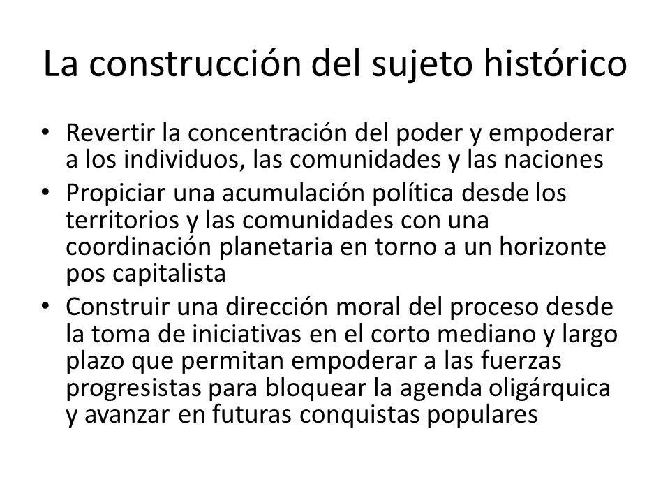 La construcción del sujeto histórico Revertir la concentración del poder y empoderar a los individuos, las comunidades y las naciones Propiciar una ac