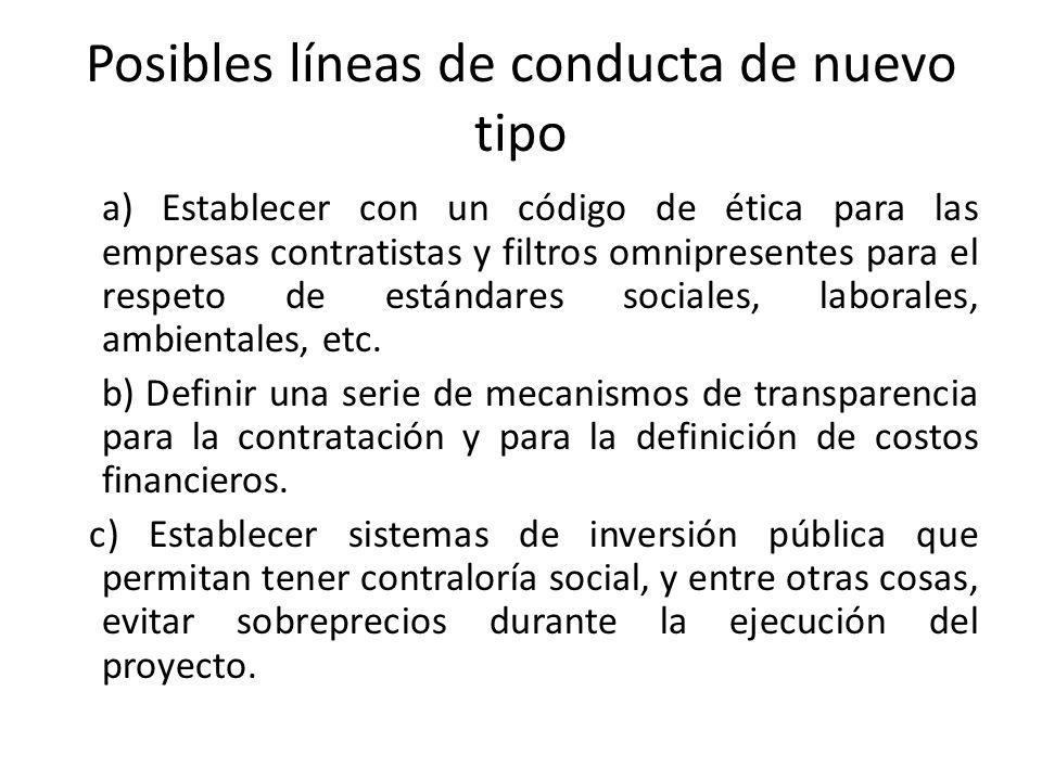 Posibles líneas de conducta de nuevo tipo a) Establecer con un código de ética para las empresas contratistas y filtros omnipresentes para el respeto