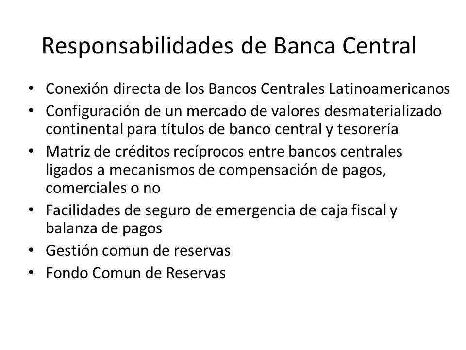 Responsabilidades de Banca Central Conexión directa de los Bancos Centrales Latinoamericanos Configuración de un mercado de valores desmaterializado c