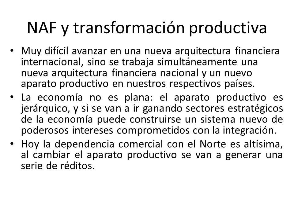 NAF y transformación productiva Muy difícil avanzar en una nueva arquitectura financiera internacional, sino se trabaja simultáneamente una nueva arqu