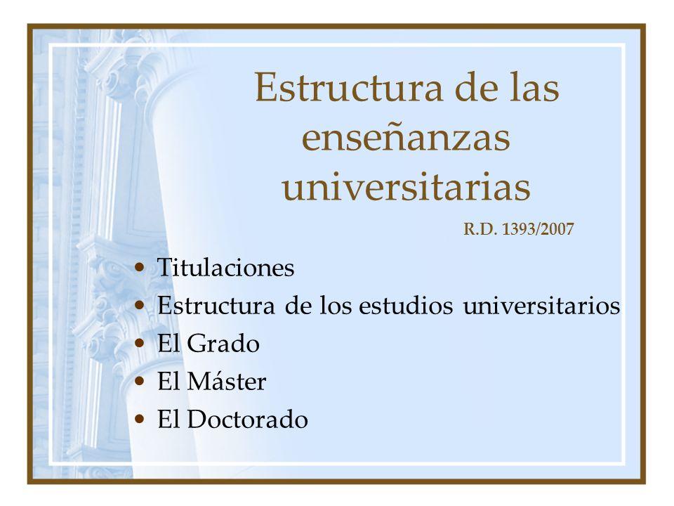 Estructura de las enseñanzas universitarias Titulaciones Estructura de los estudios universitarios El Grado El Máster El Doctorado R.D.