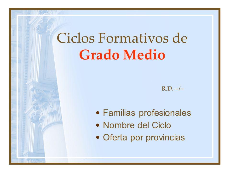 Ciclos Formativos de Grado Medio Familias profesionales Nombre del Ciclo Oferta por provincias R.D.