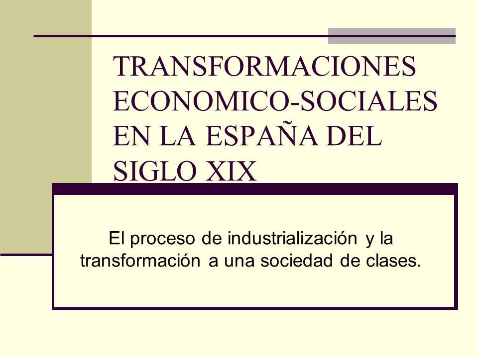TRANSFORMACIONES ECONOMICO-SOCIALES EN LA ESPAÑA DEL SIGLO XIX El proceso de industrialización y la transformación a una sociedad de clases.